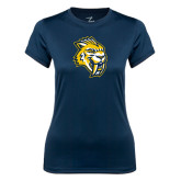 Ladies Syntrel Performance Navy Tee-Sabercat Head