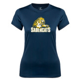 Ladies Syntrel Performance Navy Tee-Sabercat Swoosh