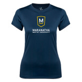 Ladies Syntrel Performance Navy Tee-Maranatha Baptist University