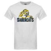 White T Shirt-Sabercat Swoosh