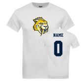 White T Shirt-Sabercat Head, Custom Tee w/ Name and #