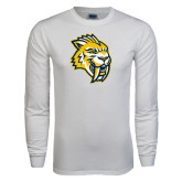 White Long Sleeve T Shirt-Sabercat Head