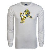 White Long Sleeve T Shirt-Sabercat Lunge