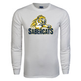 White Long Sleeve T Shirt-Sabercat Swoosh