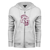 ENZA Ladies White Fleece Full Zip Hoodie-Sabercat Pink Glitter