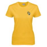 Ladies Gold T Shirt-Sabercat Head