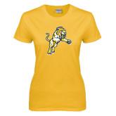 Ladies Gold T Shirt-Sabercat Lunge