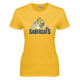 Ladies Gold T Shirt-Sabercat Swoosh