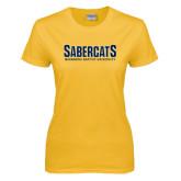 Ladies Gold T Shirt-Sabercats Maranatha Word Mark