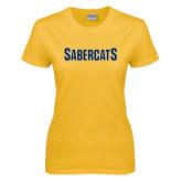Ladies Gold T Shirt-Sabercats Word Mark