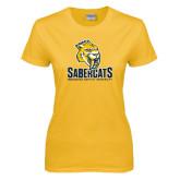 Ladies Gold T Shirt-Sabercat Stacked