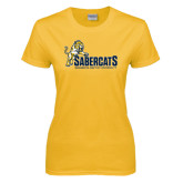 Ladies Gold T Shirt-Sabercats With Lunge