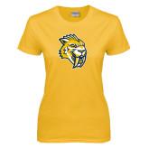 Ladies Gold T Shirt-Sabercat Head Distressed