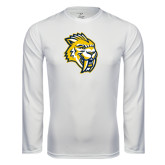 Performance White Longsleeve Shirt-Sabercat Head