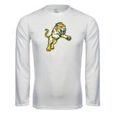 Performance White Longsleeve Shirt-Sabercat Lunge