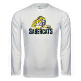 Syntrel Performance White Longsleeve Shirt-Sabercat Swoosh