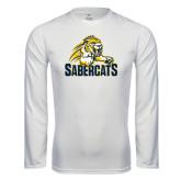 Performance White Longsleeve Shirt-Sabercat Swoosh