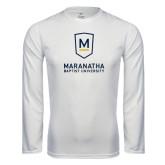 Performance White Longsleeve Shirt-Maranatha Baptist University