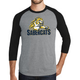 Grey/Black Tri Blend Baseball Raglan-Sabercat Swoosh