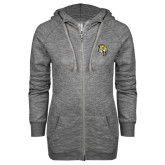 ENZA Ladies Grey/Black Marled Full Zip Hoodie-Sabercat Head
