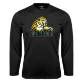 Performance Black Longsleeve Shirt-Sabercat Swoosh