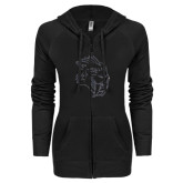 ENZA Ladies Black Light Weight Fleece Full Zip Hoodie-Sabercat Graphite Soft Glitter