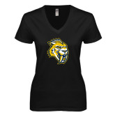 Next Level Ladies Junior Fit Deep V Black Tee-Sabercat Head