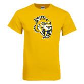 Gold T Shirt-Sabercat Head Distressed
