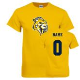 Gold T Shirt-Sabercat Head, Custom Tee w/ Name and #