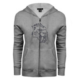 ENZA Ladies Grey Fleece Full Zip Hoodie-Sabercat Graphite Soft Glitter