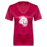 Ladies Pink Raspberry Camohex Performance Tee-Sabercat Head