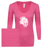 ENZA Ladies Hot Pink Long Sleeve V Neck Tee-Sabercat Head