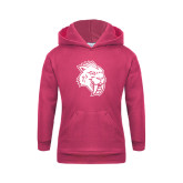 Youth Raspberry Fleece Hoodie-Sabercat Head