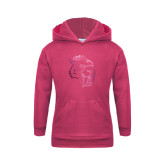 Youth Raspberry Fleece Hood-Sabercat Head Foil