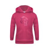 Youth Raspberry Fleece Hoodie-Sabercat Head Foil