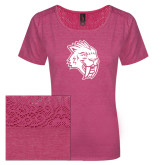 Ladies Dark Fuchsia Heather Tri-Blend Lace Tee-Sabercat Head