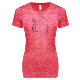 Next Level Ladies Junior Fit Fuchsia Burnout Tee-Sabercat Head Foil