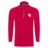 Ladies Pink Raspberry Sport Wick Textured 1/4 Zip Pullover-Sabercat Head