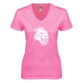 Next Level Ladies Junior Fit Deep V Pink Tee-Sabercat Head