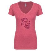 Next Level Ladies Vintage Pink Tri Blend V-Neck Tee-Sabercat Hot Pink Glitter