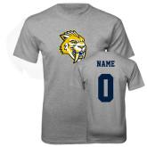 Grey T Shirt-Sabercat Head, Custom Tee w/ Name and #