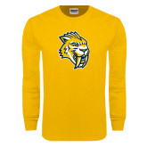 Gold Long Sleeve T Shirt-Sabercat Head