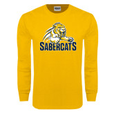 Gold Long Sleeve T Shirt-Sabercat Swoosh
