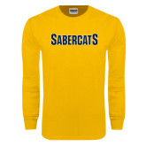Gold Long Sleeve T Shirt-Sabercats Word Mark