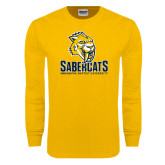 Gold Long Sleeve T Shirt-Sabercat Stacked