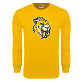 Gold Long Sleeve T Shirt-Sabercat Head Distressed