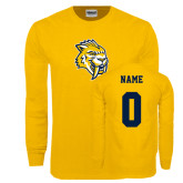 Gold Long Sleeve T Shirt-Sabercat Head, Custom Tee w/ Name and #