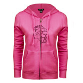 ENZA Ladies Fuchsia Fleece Full Zip Hoodie-Sabercat Hot Pink Glitter