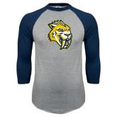 Grey/Navy Raglan Baseball T Shirt-Sabercat Head
