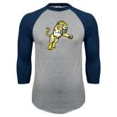 Grey/Navy Raglan Baseball T Shirt-Sabercat Lunge